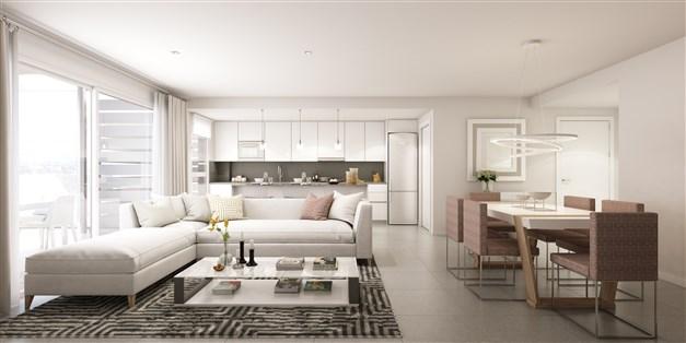 Illustrationsbild - Vardagsrum och kök