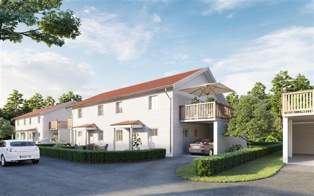 Nyproduktionen Brf Klipperskutan med 6 parhus och totalt 12 lägenheter.