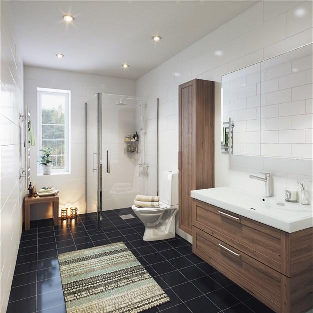 Helkaklade badrum - ett på entréplan och ett på övre plan.