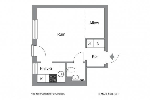 Planritning (avvikelser kan förekomma. Badrummet går längre ut i hallens riktning med duschen i ytterkant). Skalenlighet garanteras ej.