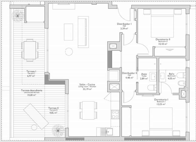 Exempel på planritning - 2 sovrum med terrass