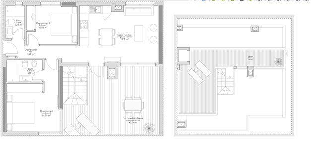Exempel på planritning - 2 sovrum med terrass och takterrass