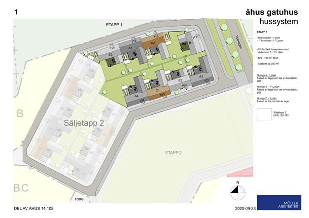 Det toppmoderna hussystemet består av både enplanshus och 1 3/4 planshus. Från Åhusvångens vindlande gathus och gränder tittar du ut över intilliggande ängar mellan tallkronor och grönska.