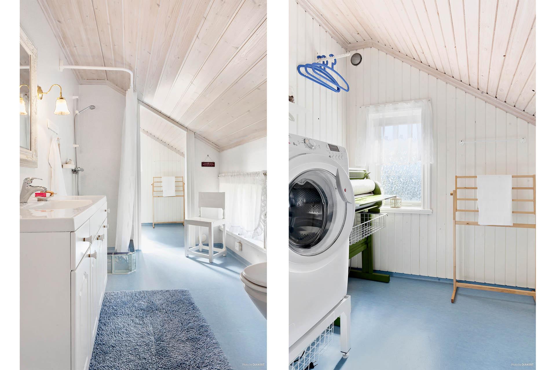 Duschrum med tvättstuga på övre plan.