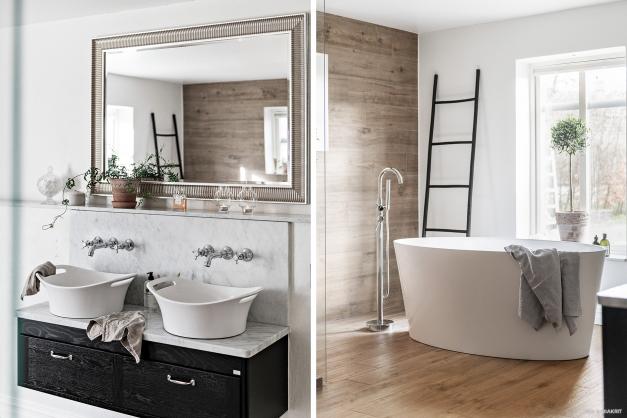 Handfaten och ett vackert fristående badkar