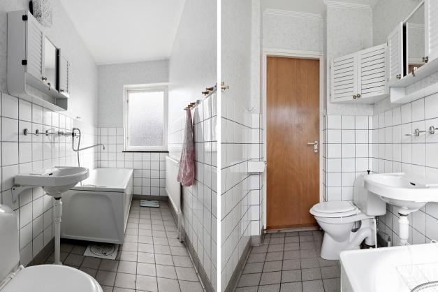 Badrum med klinkers på golv och halvkaklade väggar