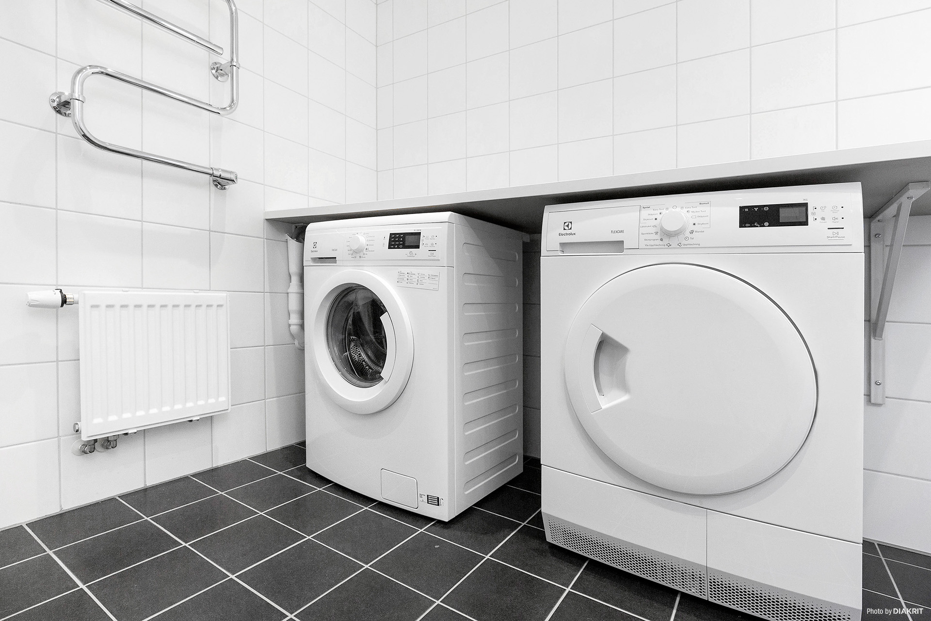 Tvättmaskin och torktumlare i duschrum/tvättstuga