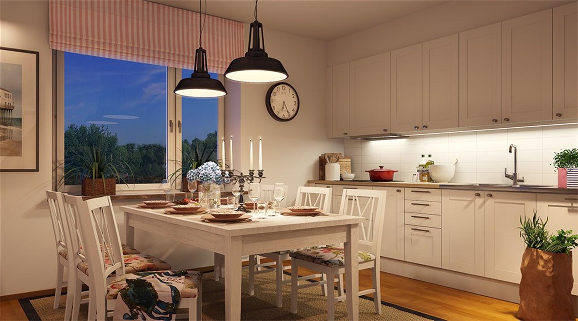 Exempel på köket från försäljningsmaterial Bonova. Ej bild från lägenheten som är till salu.