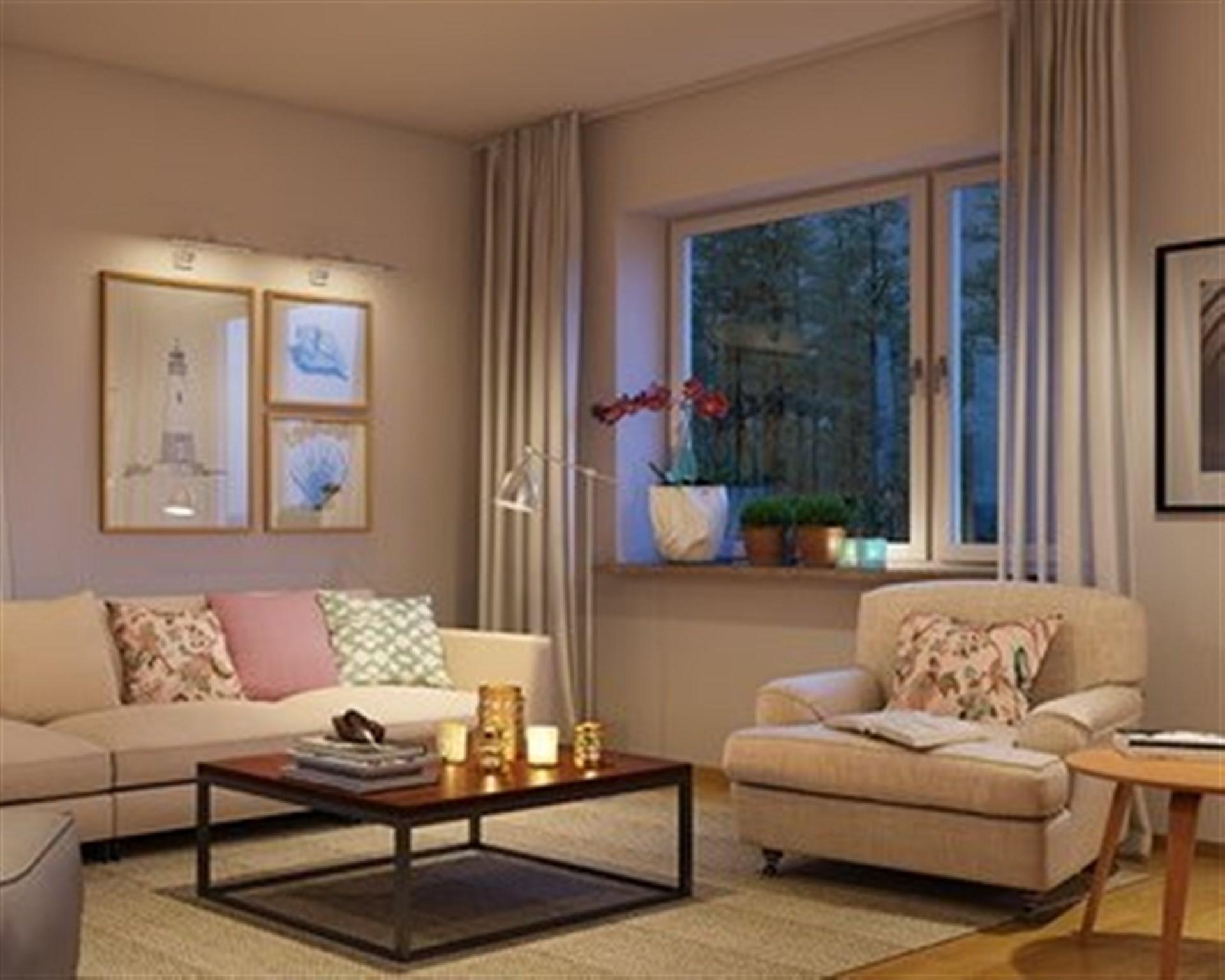 Inspirationsbild vardagsrum. Ej bild från lägenheten som är till salu.