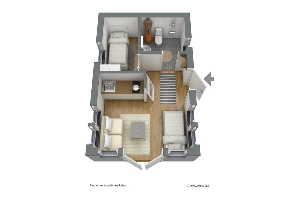 Minivilla. möblerad planskiss 3D entréplan - obs avvikelser kan förekomma