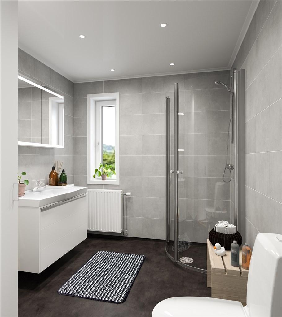 Badrum med fönster och duschdörrar i välvt glas