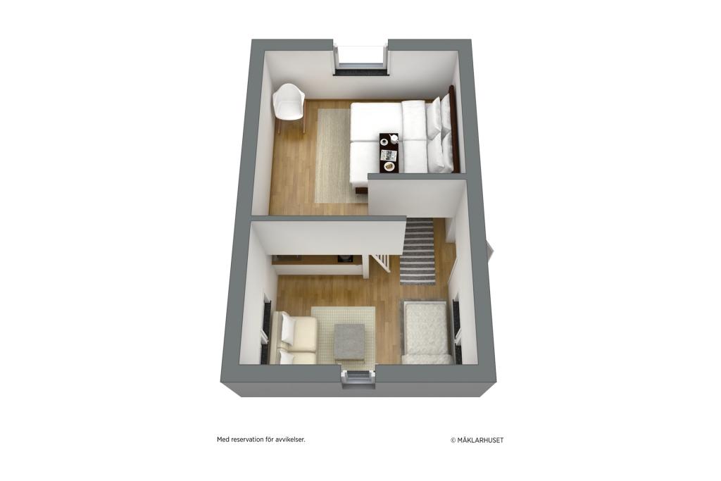 Minivilla. möblerad planskiss 3D loftplan - obs avvikelser kan förekomma