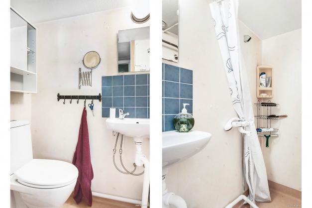 Badrum med dusch, toalett och vask.