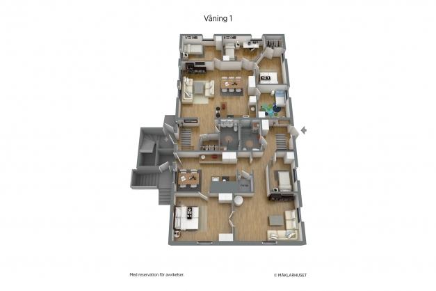 Planritning 3-d våning 1