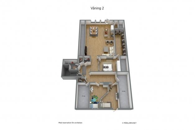 Planritning 3-d våning 2
