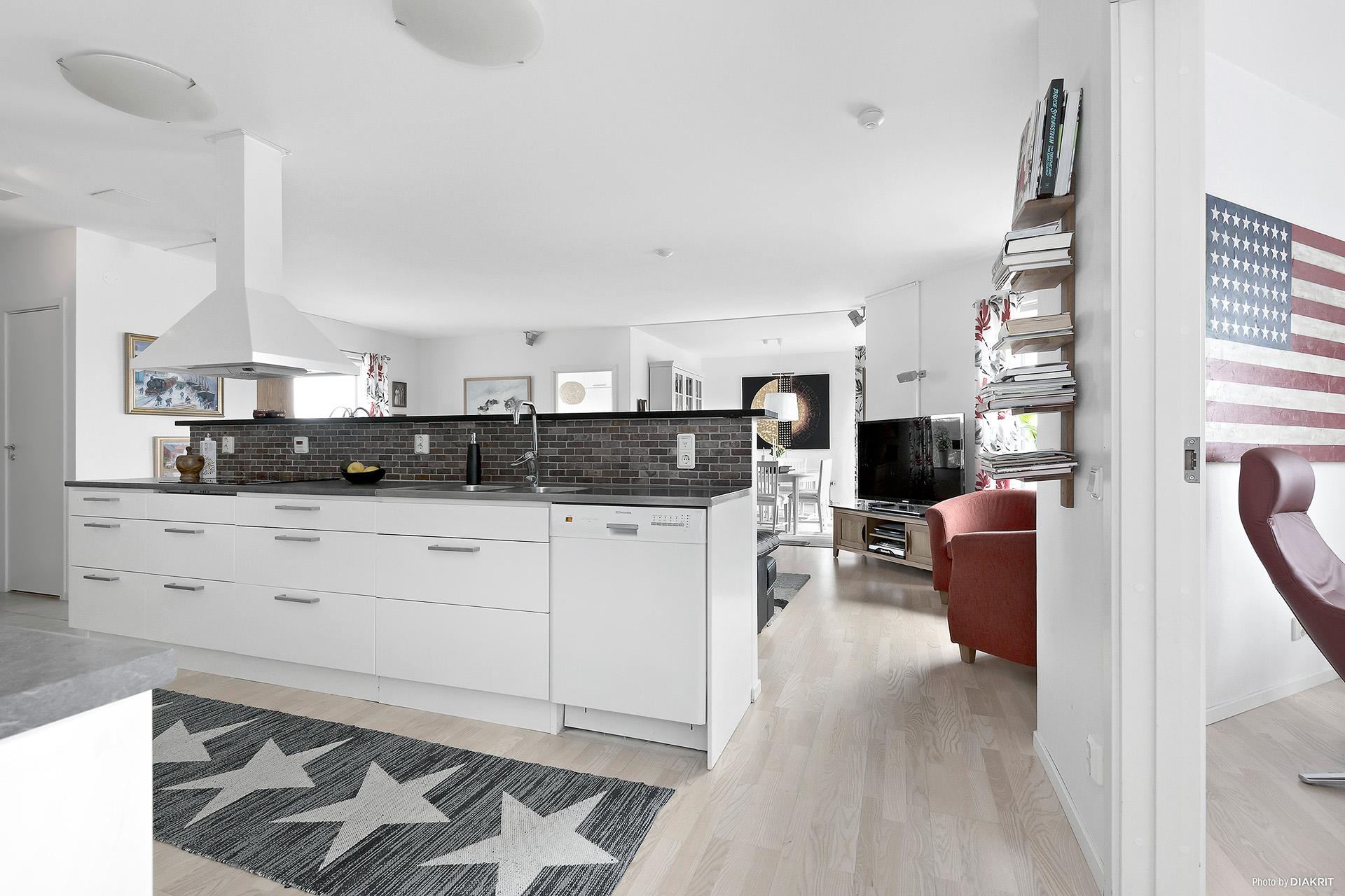 Kök/vardagsrum i ett