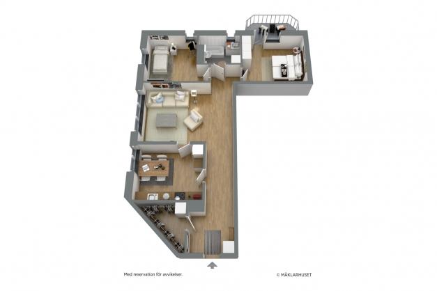 Möblerad planlösning 3-d