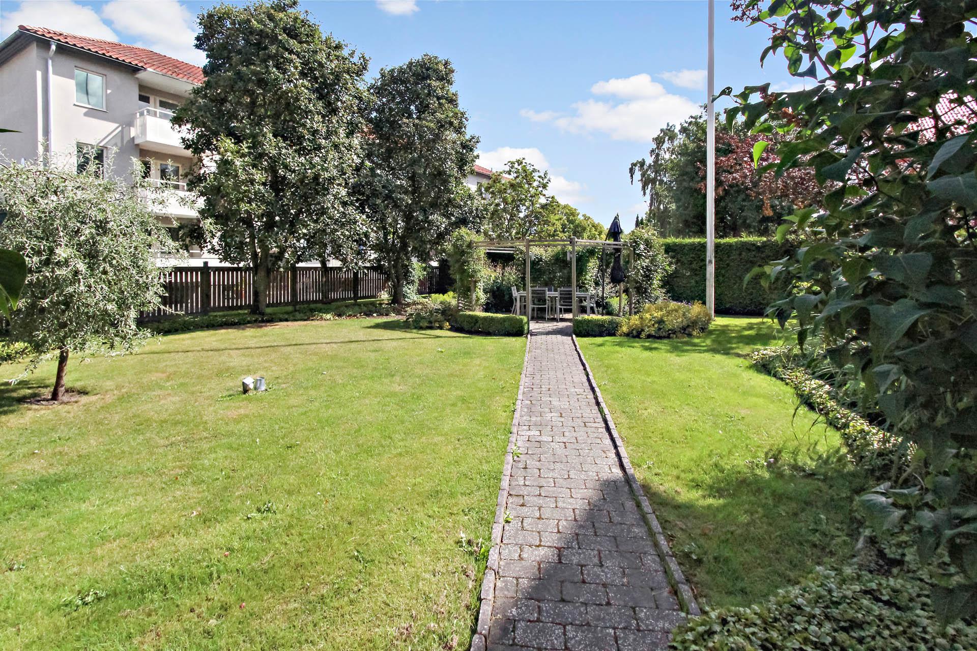 Vacker innergård med fina planteringar