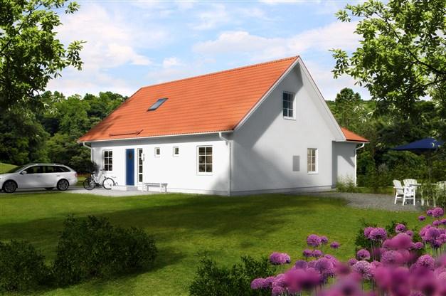 """På bilden syns husmodellen """"Optimal 158"""". För mer info om just denna husmodell, kontakta Mikael Kahlin på LB-Hus, 072-216 99 28, mikael.kahlin@lbhus.se"""