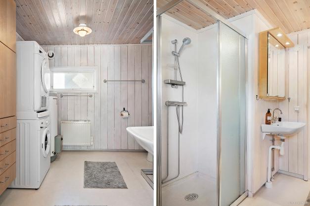 Badrum med dusch, tvättmaskin och torktumlare