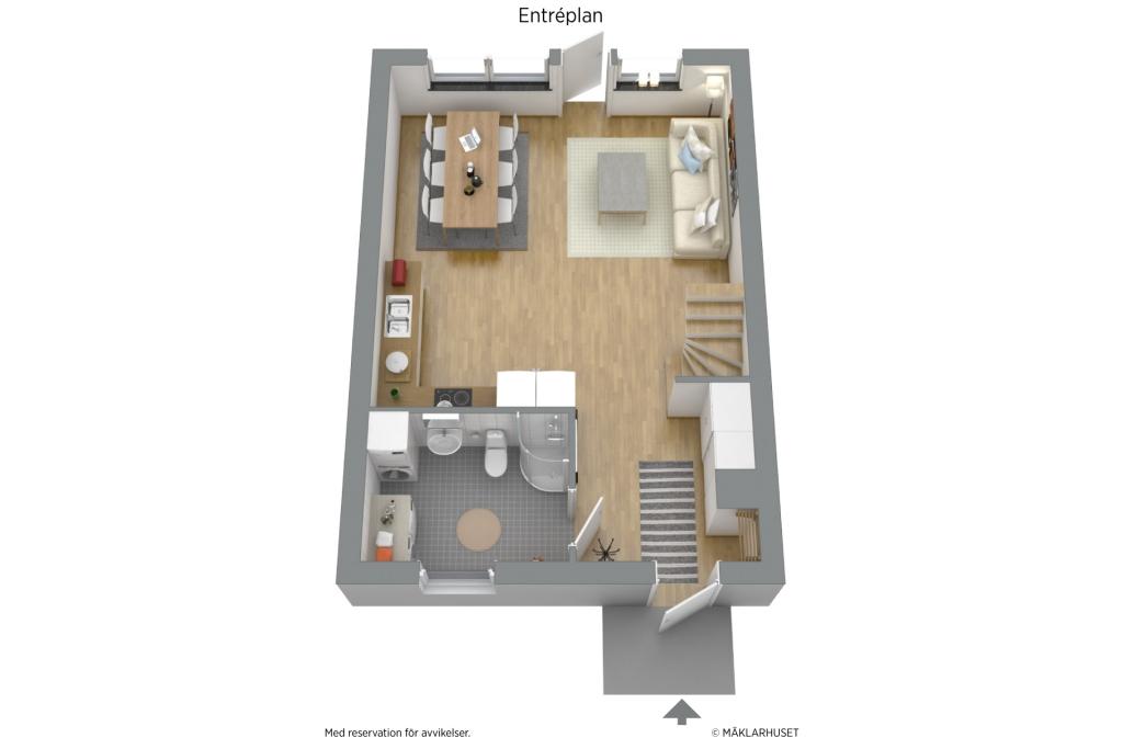 Planlösning entréplan i 3D möblerad