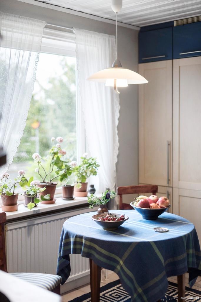 En trivsam matplats i köket.