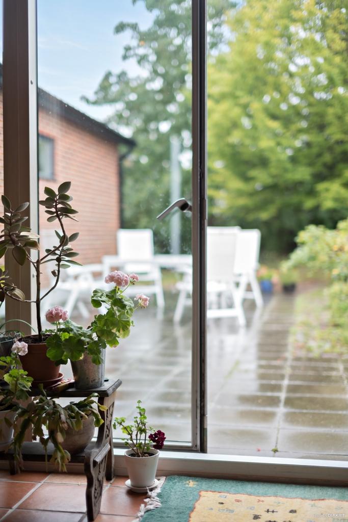 Stort fönsterparti med dörrar mot trädgården. Ger en innergårdskänsla.