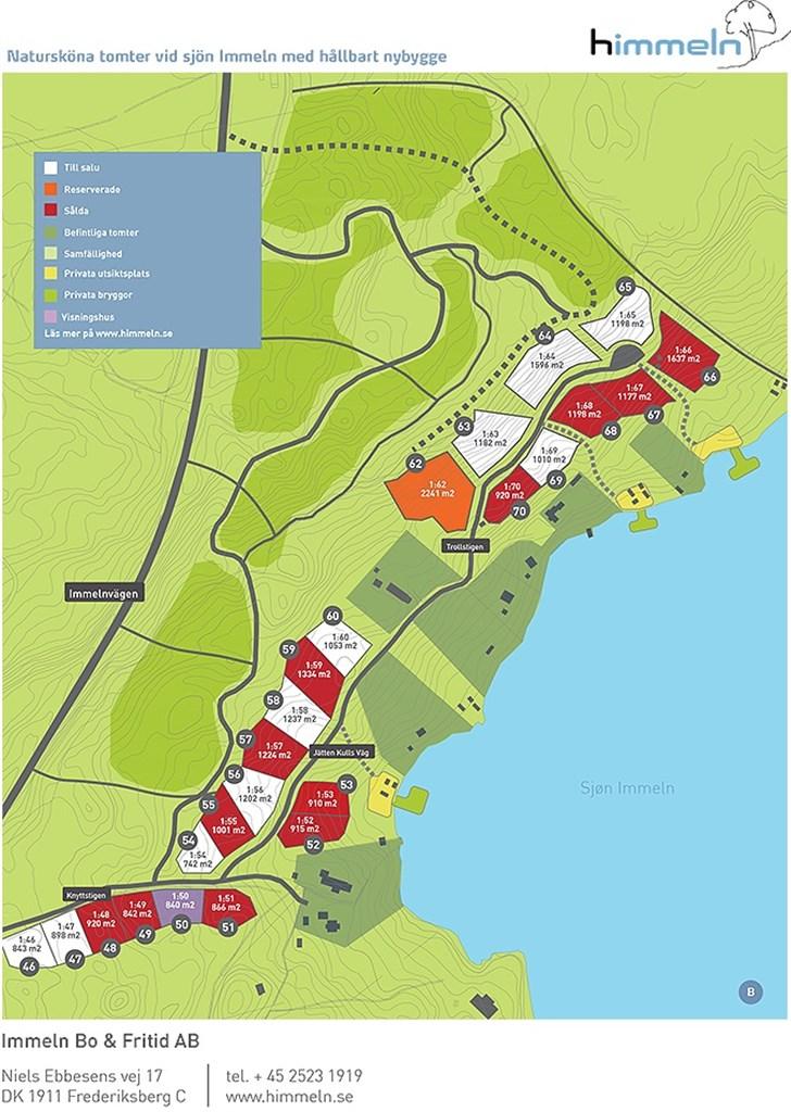 Karta över samtliga tomter. Priser fr 300 000 kr till 975 000 kr.