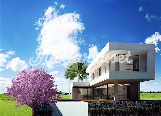 Idéskiss från arkitekt. Om man vill går det att köpa tomten med det här huset som ett nybyggnadsprojekt.