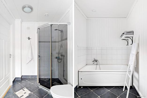 Badrum med både dusch och badkar