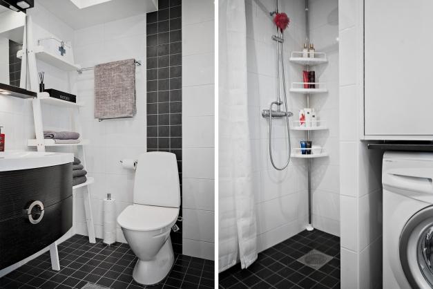 Badrummet är helkaklat och modernt