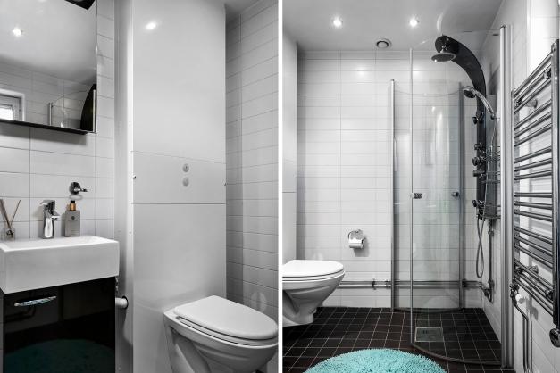 Entreplanets badrum med dusch, toalett och handfat