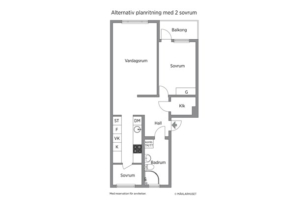 Alternativ planritning med 2 sovrum