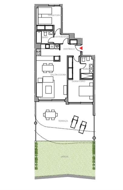 Exempel på planritning. Entréplan med terrass och trädgård.