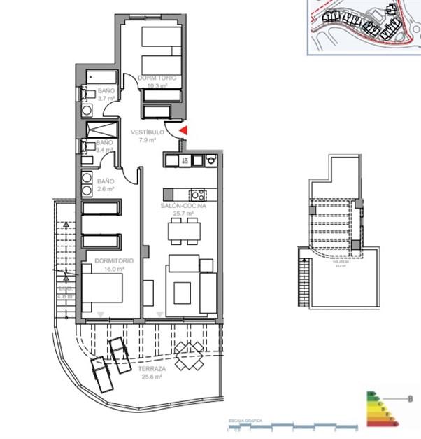Exempel på planritning. Våning 3 med terrass och takterrass