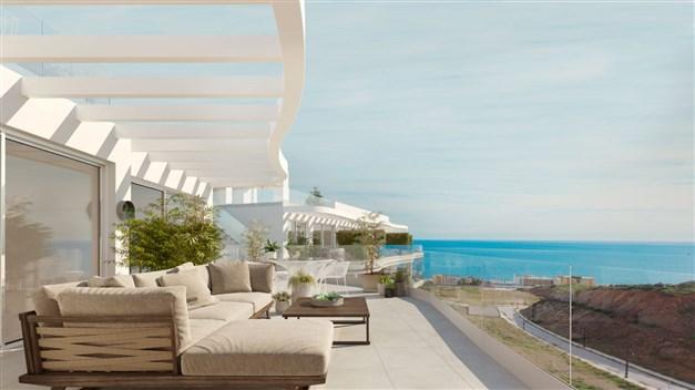 Illustrationsbild - stora terrasser med havsutsikt