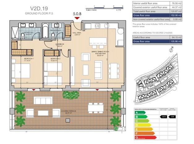 Exempel på planritning. Lägenhet V2D.19 Entréplan, 289.500€
