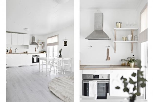 Köket är utrustat med kombinerad kyl/frys, induktionshäll, fläkt och ugn.