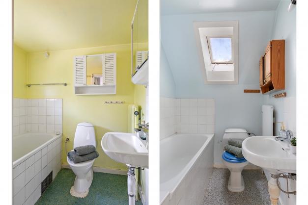 Badrum på bottenplan till vänster och badrum på övre plan till höger