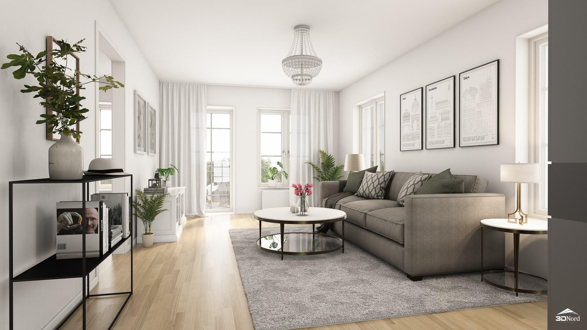 Vardagsrum i en 3:a Bilderna är illustrationer och att avvikelser kan förekomma.
