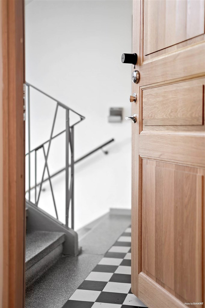 Vacker trappuppgång och snygga ytterdörrar, säkerhetsdörrar