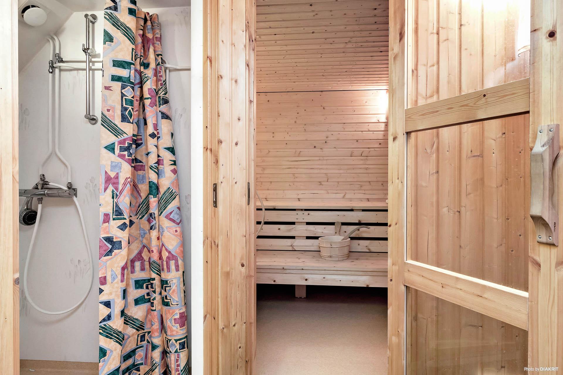 Bastu och dusch i källarvåningen