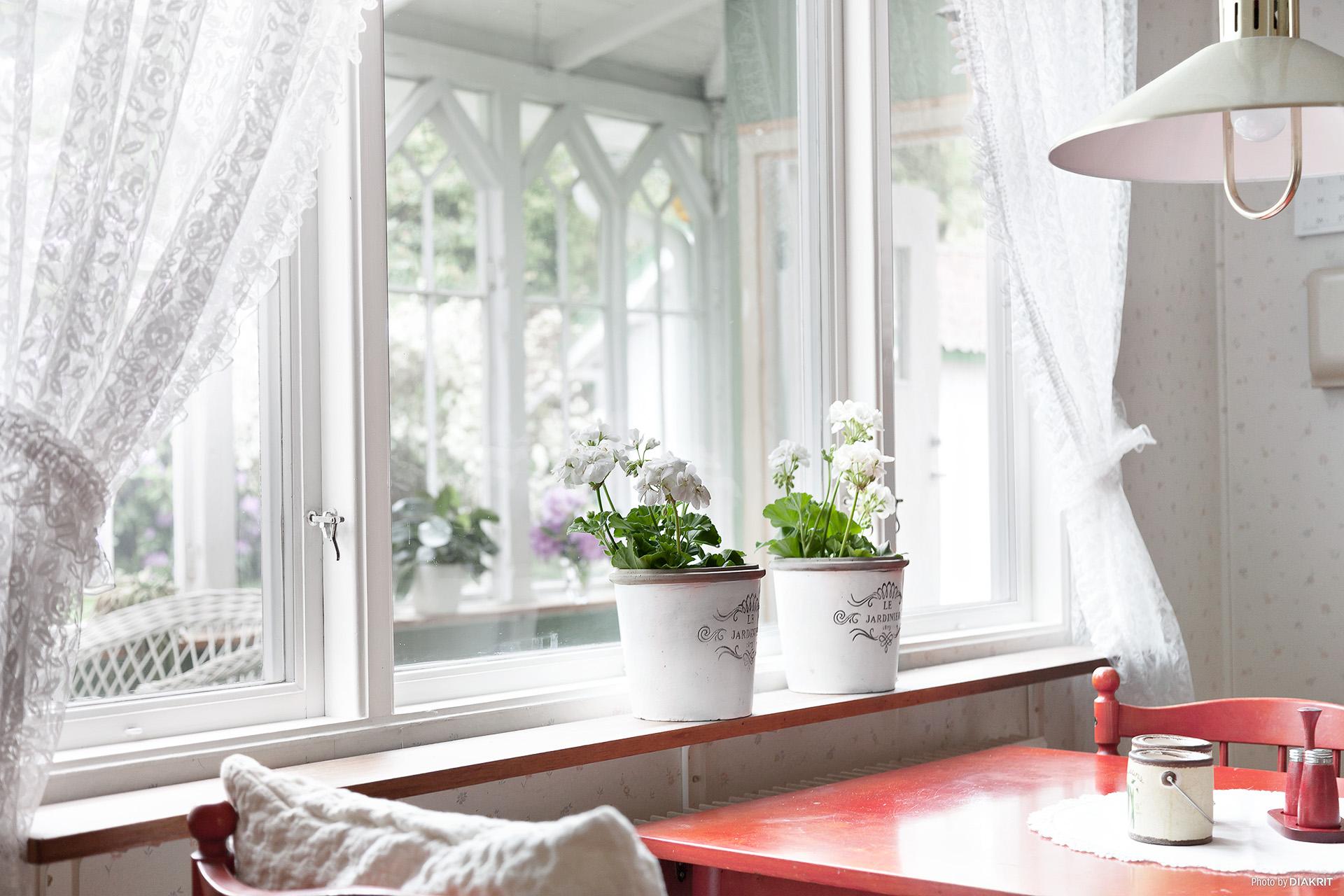 Från köket ser du uterummet och trädgården.