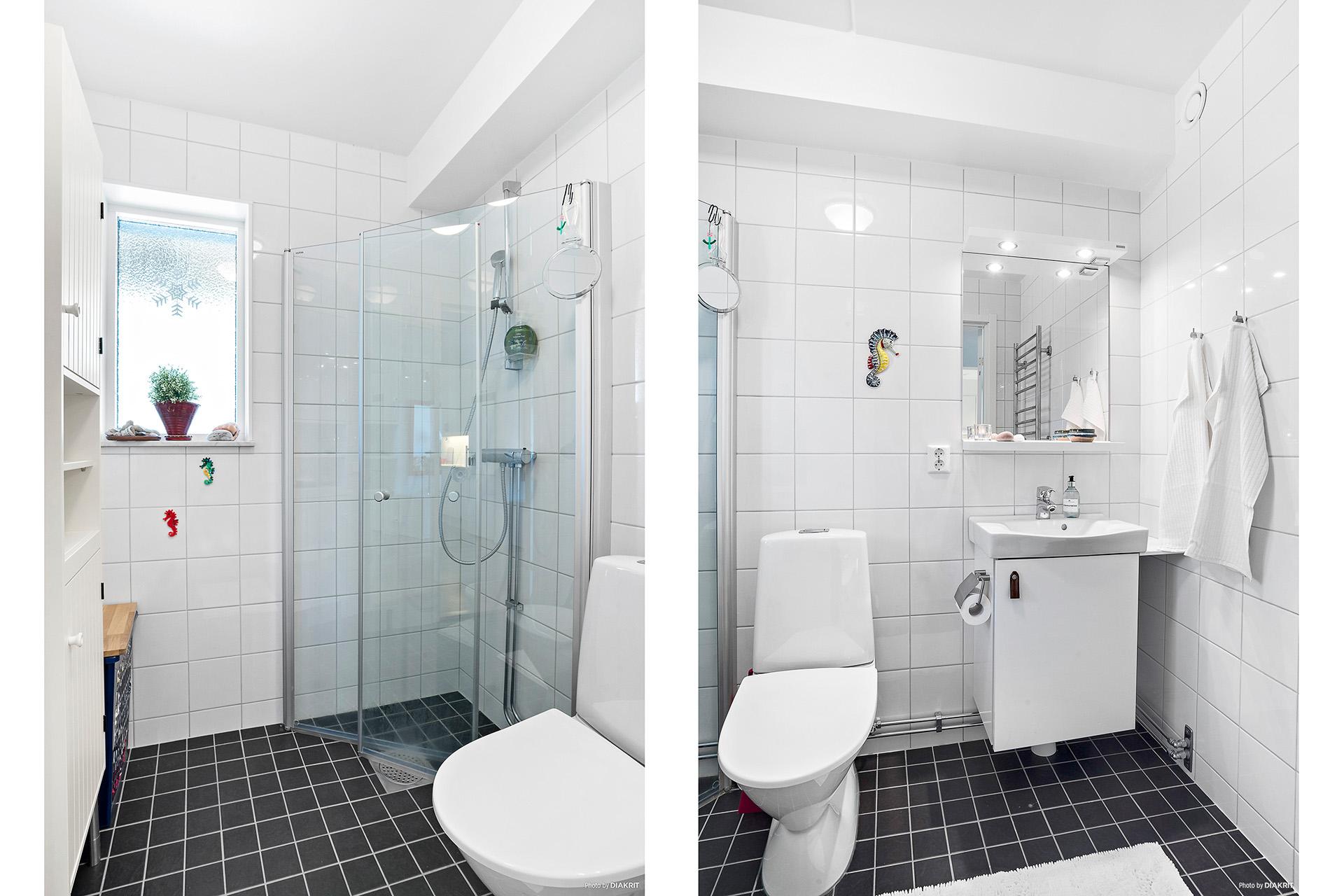 Helkaklat duschrum med fönster