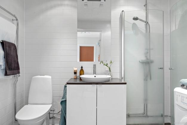 Badrum med hög standard och tvättmöjligheter