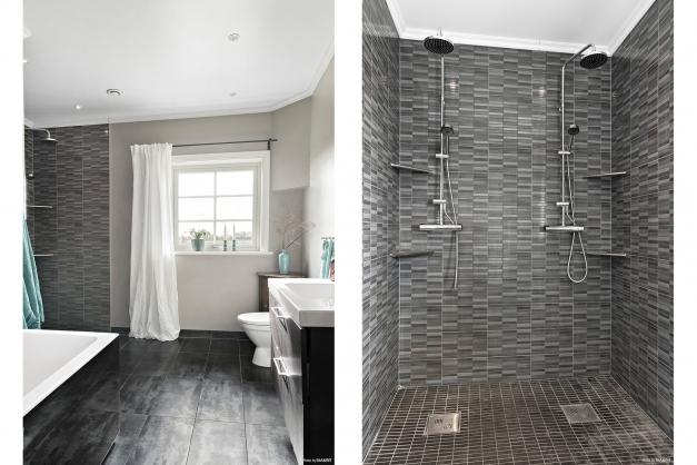 Badrum med både badkar och dubbla duschar