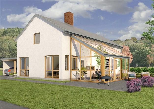 Arkitektritat lågenergihus i stenmaterial. Reservation för avvikelser.
