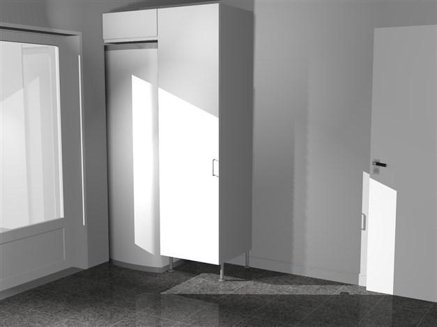 Tvättstuga på motsatt sida med värmepump och garderob. Reservation för avvikelser.