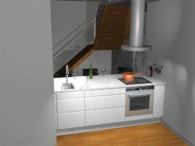 Köksdel i öppning mot vardagsrum  skapar rymd och luft. Reservation för avvikelser.