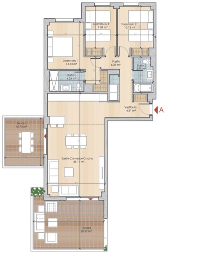 Exempel planlösning - boyta om 87,08 kvm och två terrasser